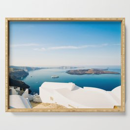 The beautiful white village Fira and vie to the Nea Kameni, Santorini, Greece Serving Tray