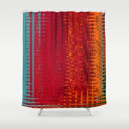 Warm red & turquoise Floor Pattern Art Shower Curtain