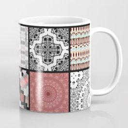 Patchwork . Squares of black, gray and salmon . Coffee Mug