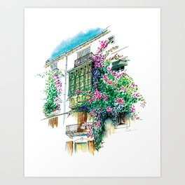 Ibiza old town charming windows with Bougainvilleas Art Print