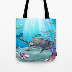 The Mermaid And The Dolphin Tote Bag