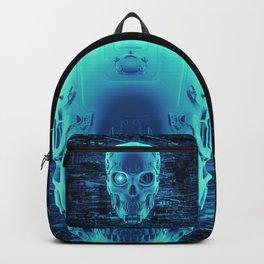Gamer Skull BLUE TECH / 3D render of cyborg head Backpack