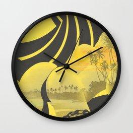 Sunset Silhouette (yellow) Wall Clock