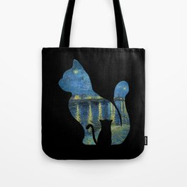 Cat Watching The Starry Night Over The Rhone - Van Gogh Painting Tote Bag