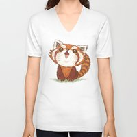 red panda V-neck T-shirts featuring Red panda by Toru Sanogawa
