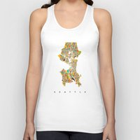 seattle Tank Tops featuring Seattle by Nicksman