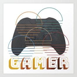 Vintage Retro Gamer Video Game Player Art Print