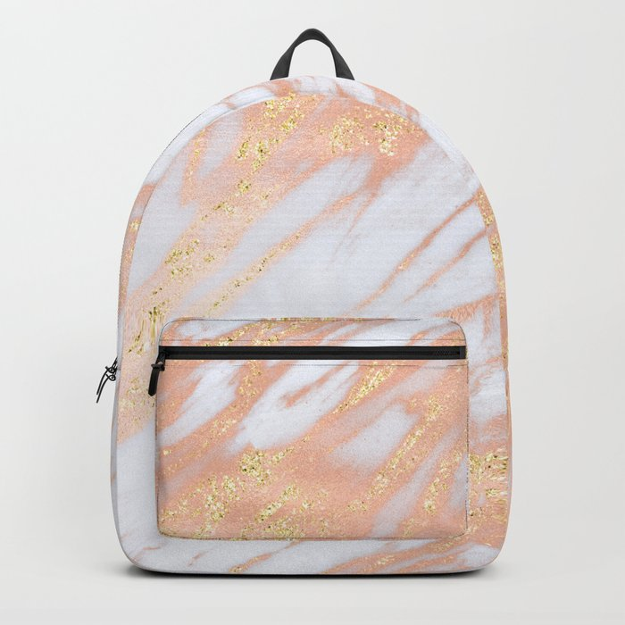 Marble - Rose Gold with Yellow Gold Glitter Shimmery Marble Backpack