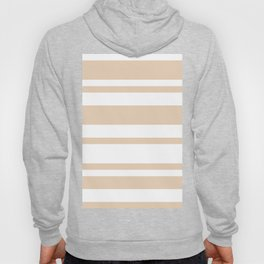 Mixed Horizontal Stripes - White and Pastel Brown Hoody