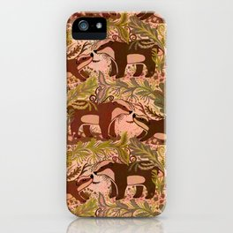 Badgers in Woodland Forest Plants under the Fall Sun, Cute Badger Mom & Baby in Woods Brown Green iPhone Case