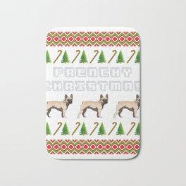 """French Bulldog"" Christmas Dog T-shirt Design On Xmas Eve or Day Paw Paws Pet Breed Dogs Christmas Bath Mat"