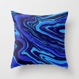 Abstract blue vivid agate slice Throw Pillow