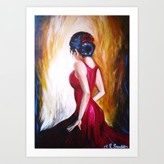'Lady in Red' by Ashley Rose Standish (Dancer, dancing, Spanish, Latin) Art Print