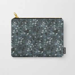 Apple Blossom, Floral Pattern, Faux Wool Texture, Grey Gray Monochrome Carry-All Pouch