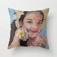 child Throw Pillows featuring child by Caterina Zamai