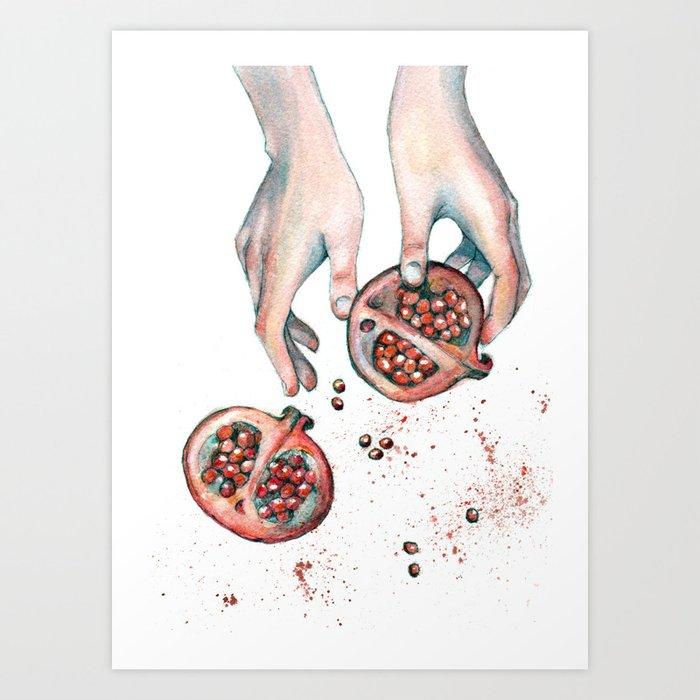 Pomegranite Explosion Art Print