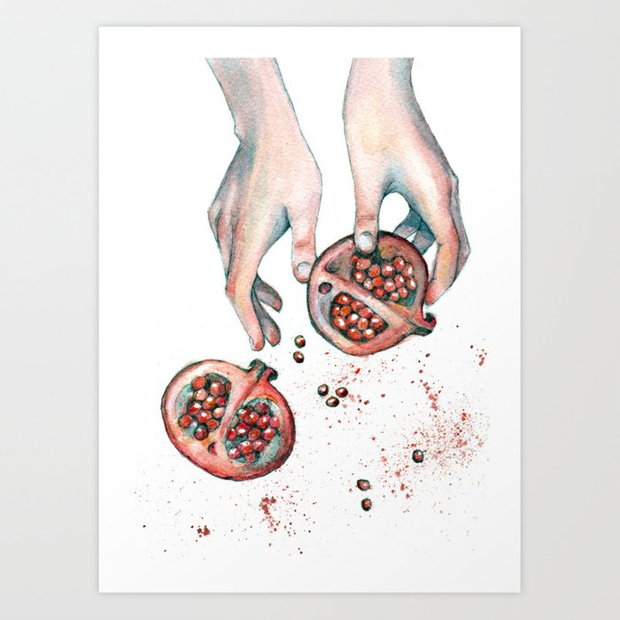 Pomegranite Explosion Art Print