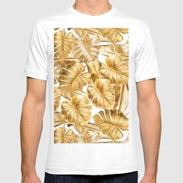 Gold Leaves Aloha Tropical Foliage Pattern T-shirt