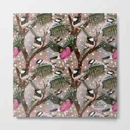 Pink Winter Bird pattern  Metal Print