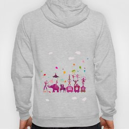 colorful circus carnival traveling in one row on white background Hoody
