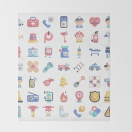 CUTE HERO JOBS / POLICE / FIREFIGHTER / DOCTOR PATTERN Throw Blanket