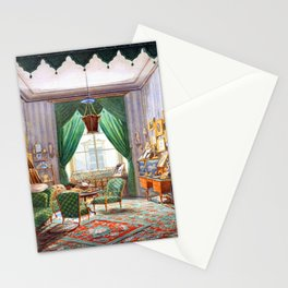 Interior with a Curtained Bed Alcove Stationery Cards