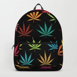Cannabis Leaf Multi-coloured Pattern Backpack