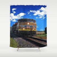 train Shower Curtains featuring Train by Phil Flaig