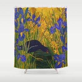 Iris and Moorhen Shower Curtain