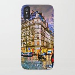 Rainy evening in Paris, France iPhone Case