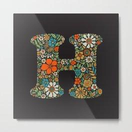 Hippie Floral Letter H Metal Print