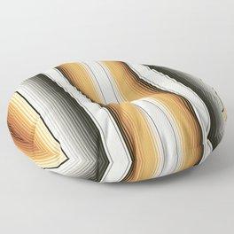Navajo White, Gray, Black and Amber Brown Southwest Serape Blanket Stripes Floor Pillow