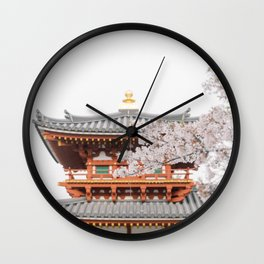 Red Japanese Temple with Pink Cherry Blossoms in Kyoto   Japan Travel   Asia Sakura Photography Wall Clock