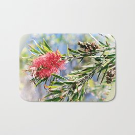 Beautiful Red Bottle Brush flower Bath Mat