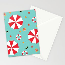 Cartoon Tropical Beach Destination Vacation Red and White Parasol Stationery Cards