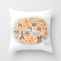 paris map Throw Pillows featuring Paris Map by Emily Golden
