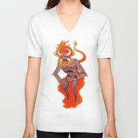 demon V-neck T-shirts featuring Demon by Justin McElroy