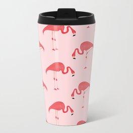 Flamingo Watercolor Pattern Metal Travel Mug