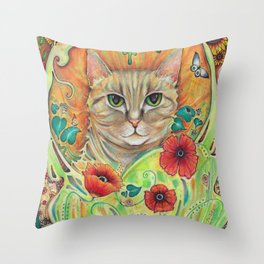 Art Nouveau Cat with poppy flowers Throw Pillow