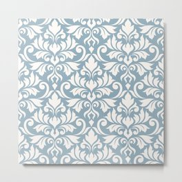 Flourish Damask Big Ptn Cream on Blue Metal Print