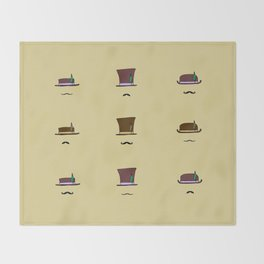 Hats & Moustaches Throw Blanket