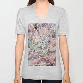 Austin map - Portrait Unisex V-Neck