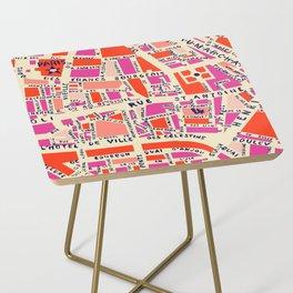 paris map pink Side Table