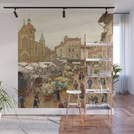 Flower Market, Paris, France floral landscape painting by Firmin Girard Wall Mural