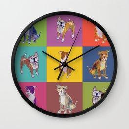 Colorful Pitbulls Wall Clock