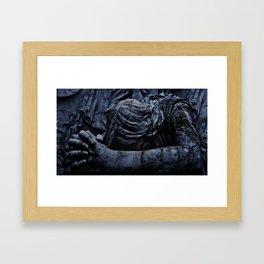 Statue of an Dark Angel Praying Close Up Framed Art Print