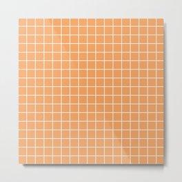 Sandy brown - pink color - White Lines Grid Pattern Metal Print