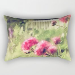 Pink Peonies In A Vintage Garden Rectangular Pillow