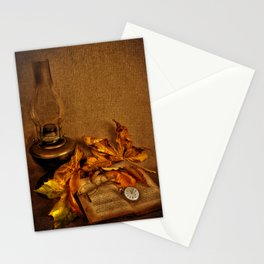 Vintage petroleum lamp, book and watch Stationery Cards