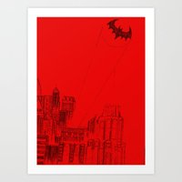 gotham Art Prints featuring Gotham by ḋαɾќṡhαḋøώ .